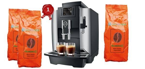 JURA WE8 Chrom im Kaffee-ABO für ca. 30 Tassen am Tag