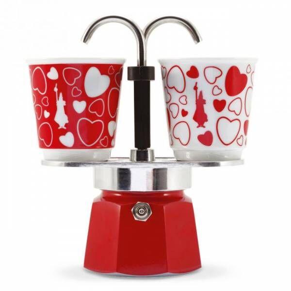 Bialetti Set Mini Express Cuore - Aluminium-Espressokocher mit 2 Espressobechern