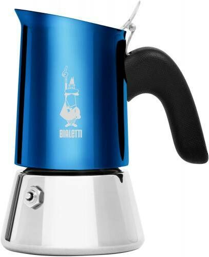 Bialetti NEW Venus 6 Tassen Espressokocher Edelstahl Blu