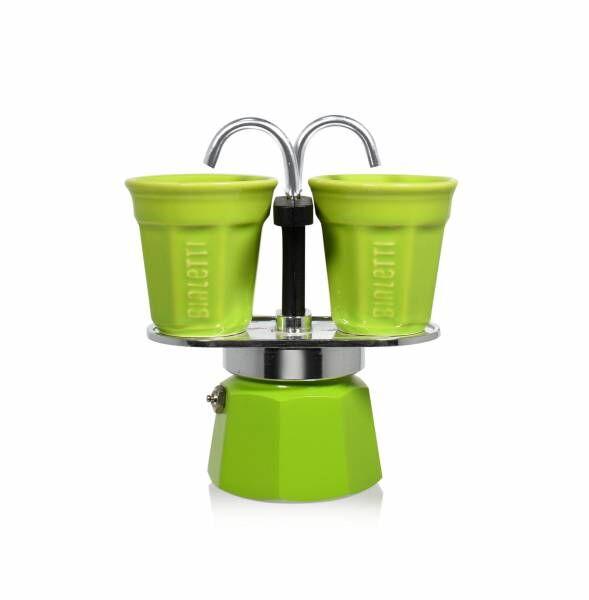 Bialetti Set Mini Express grün - Aluminium-Espressokocher mit 2 Espressobechern