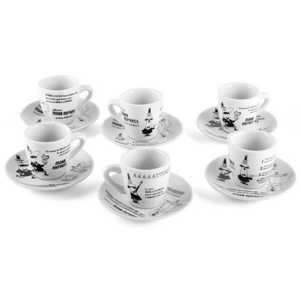 Bialetti Set 6 Espressotassen mit Untertassen Carosello