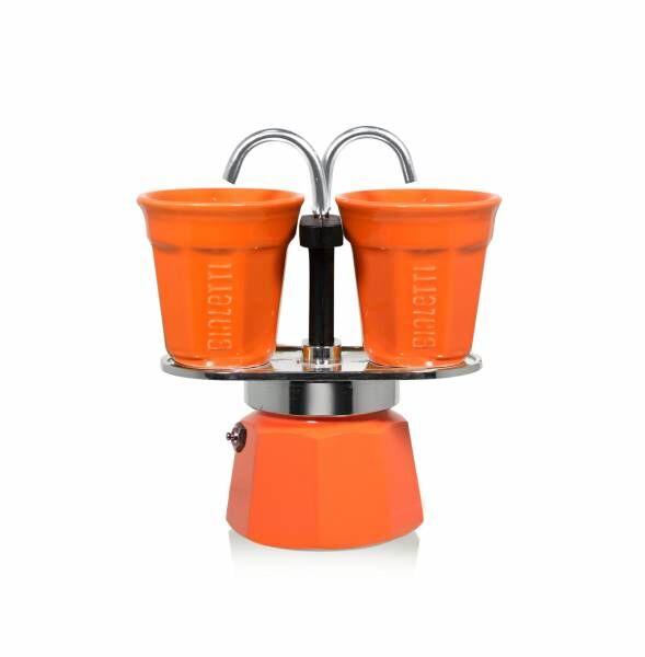 Bialetti Set Mini Express orange - Aluminium-Espressokocher mit 2 Espressobechern