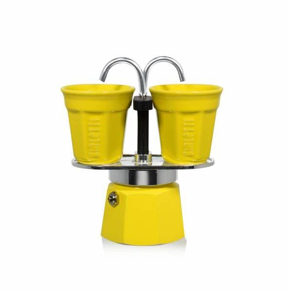 Bialetti Set Mini Express gelb - Aluminium-Espressokocher mit 2 Espressobechern