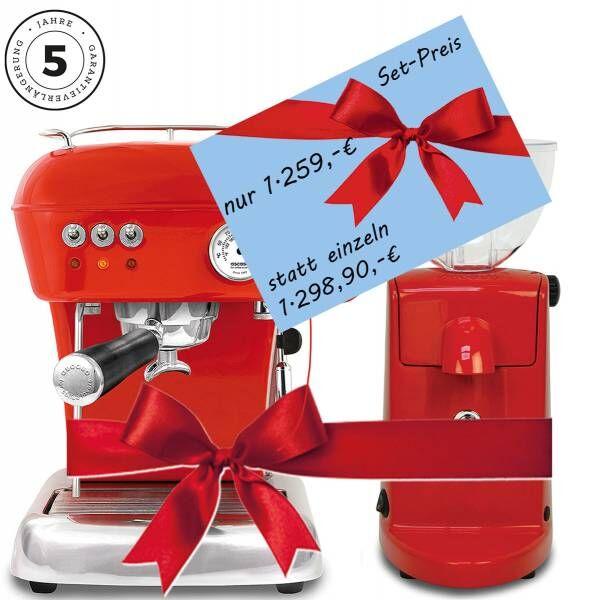 Angebot: Ascaso Dream PID - Rot mit Ascaso Mühle i-mini i-1 T mit Scheibenmahlwerk und Timer